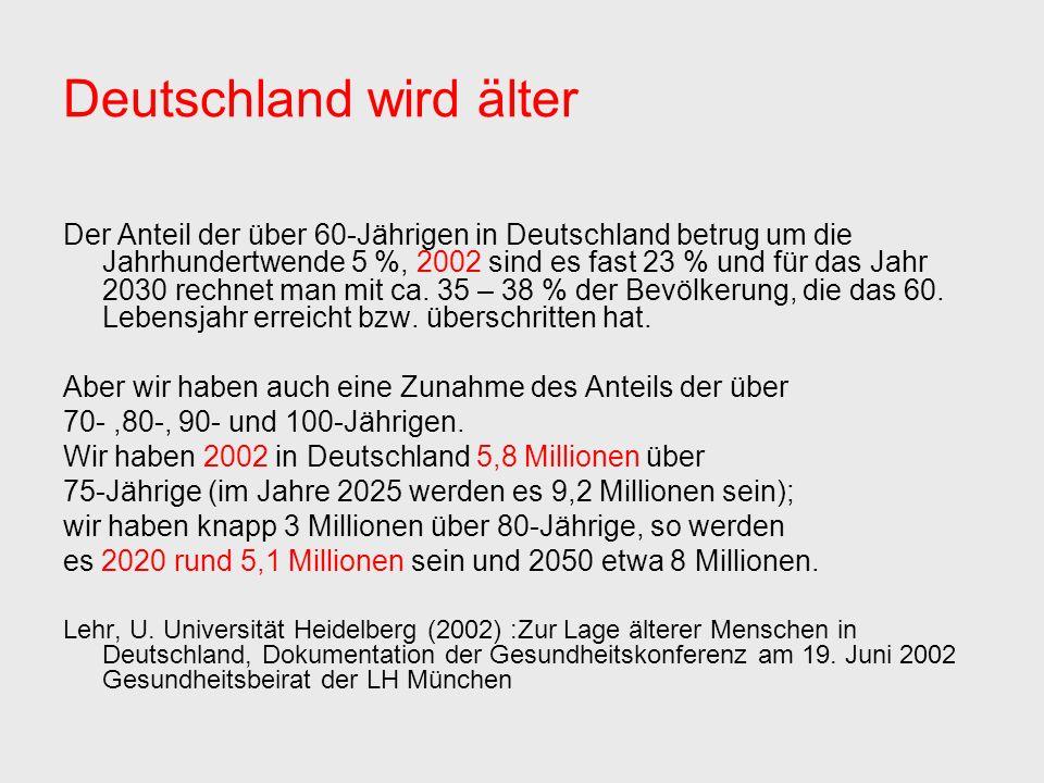 Deutschland wird älter Der Anteil der über 60-Jährigen in Deutschland betrug um die Jahrhundertwende 5 %, 2002 sind es fast 23 % und für das Jahr 2030 rechnet man mit ca.