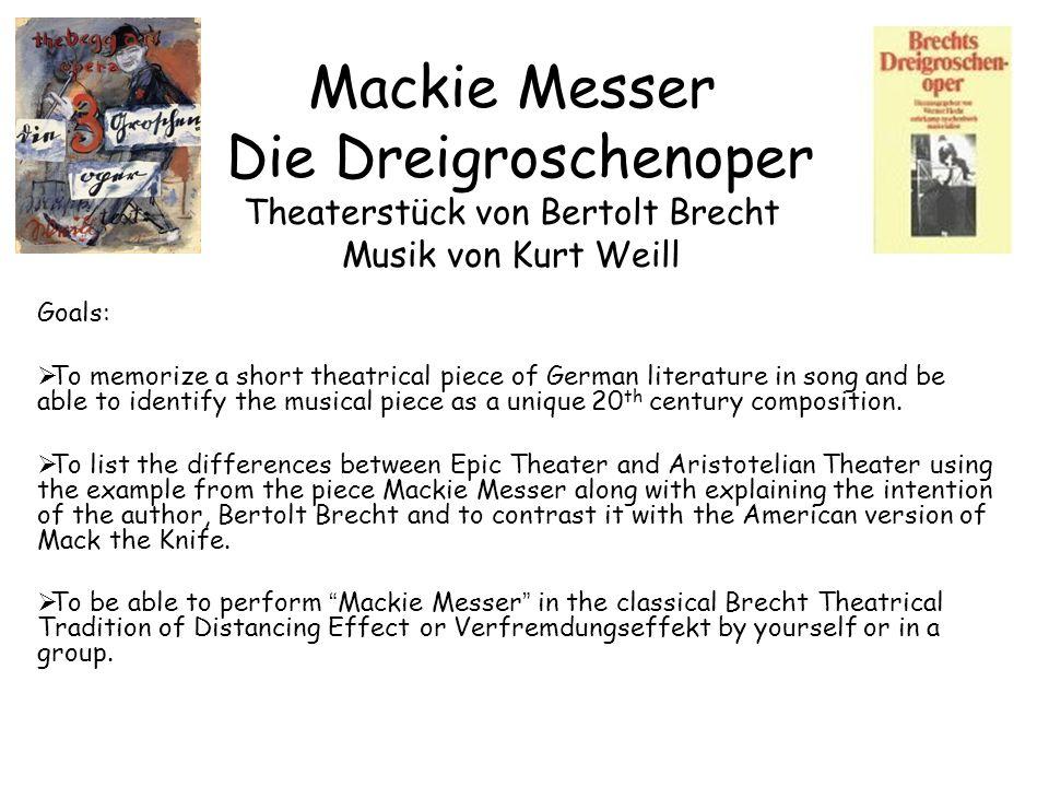 Mackie Messer Original sung by Lotte Lenya https://www.youtub e.com/watch?v=X7 eO7MKEZAYhttps://www.youtub e.com/watch?v=X7 eO7MKEZAY epic form