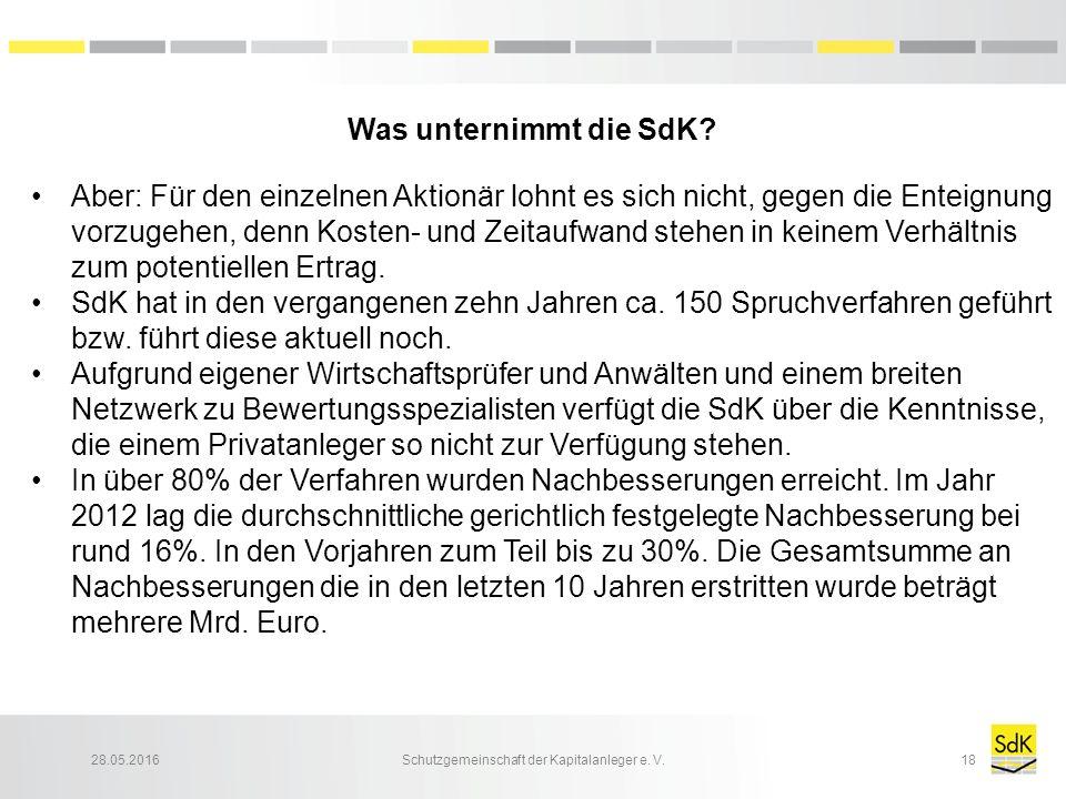 28.05.2016Schutzgemeinschaft der Kapitalanleger e. V.18 Was unternimmt die SdK? Aber: Für den einzelnen Aktionär lohnt es sich nicht, gegen die Enteig