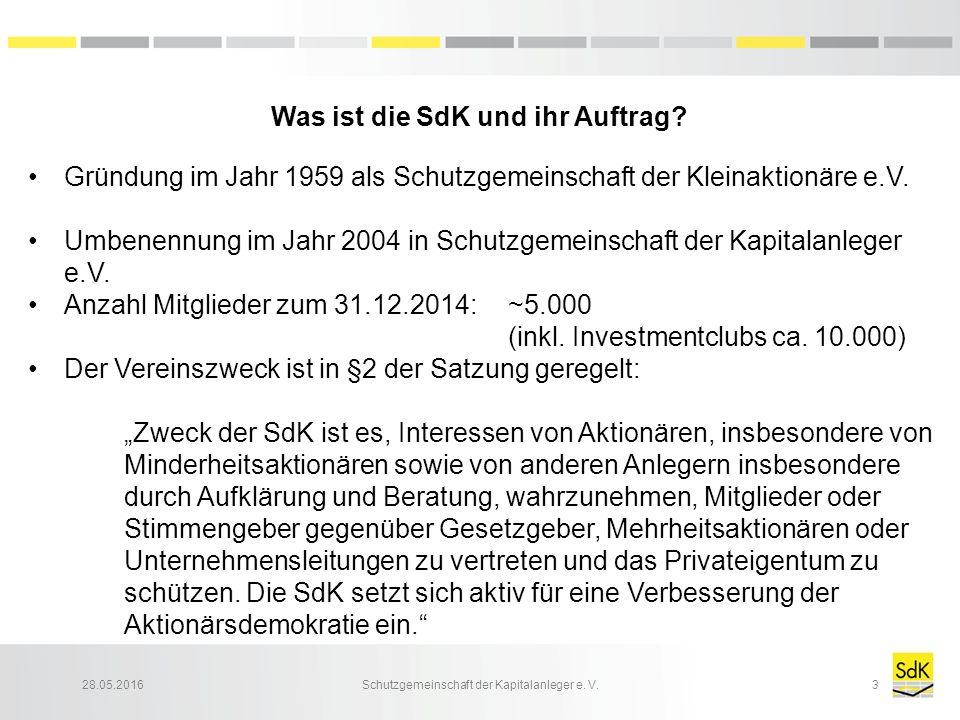 28.05.2016Schutzgemeinschaft der Kapitalanleger e. V.3 Was ist die SdK und ihr Auftrag? Gründung im Jahr 1959 als Schutzgemeinschaft der Kleinaktionär