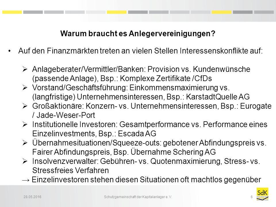 28.05.2016Schutzgemeinschaft der Kapitalanleger e. V.6 Warum braucht es Anlegervereinigungen? Auf den Finanzmärkten treten an vielen Stellen Interesse