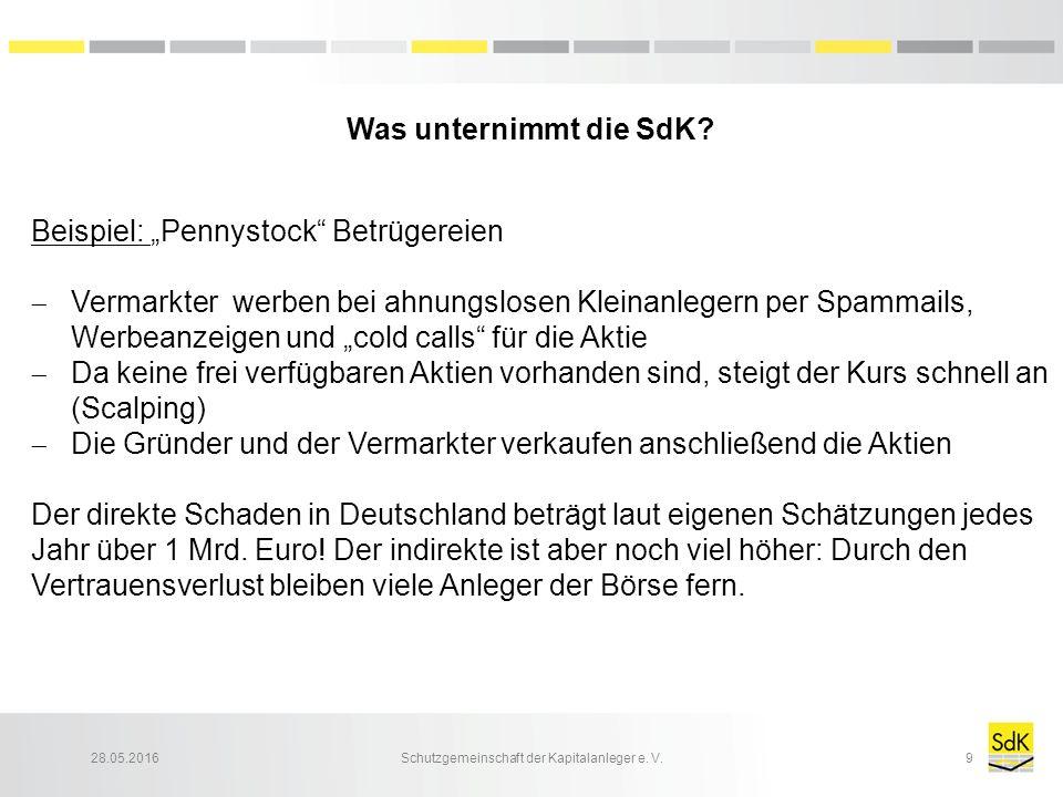 "28.05.2016Schutzgemeinschaft der Kapitalanleger e. V.10 Beispiel: ""Pennystocks -Masche"