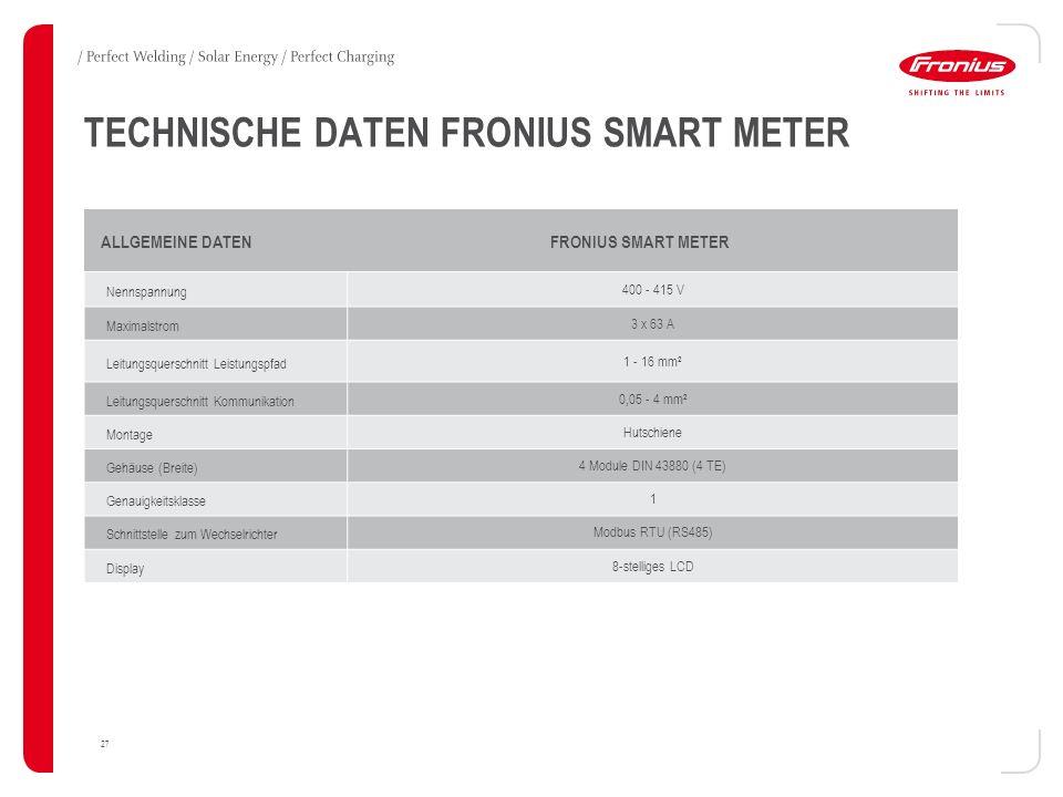 27 TECHNISCHE DATEN FRONIUS SMART METER ALLGEMEINE DATENFRONIUS SMART METER Nennspannung400 - 415 V Maximalstrom3 x 63 A Leitungsquerschnitt Leistungspfad1 - 16 mm² Leitungsquerschnitt Kommunikation0,05 - 4 mm² MontageHutschiene Gehäuse (Breite)4 Module DIN 43880 (4 TE) Genauigkeitsklasse1 Schnittstelle zum WechselrichterModbus RTU (RS485) Display8-stelliges LCD