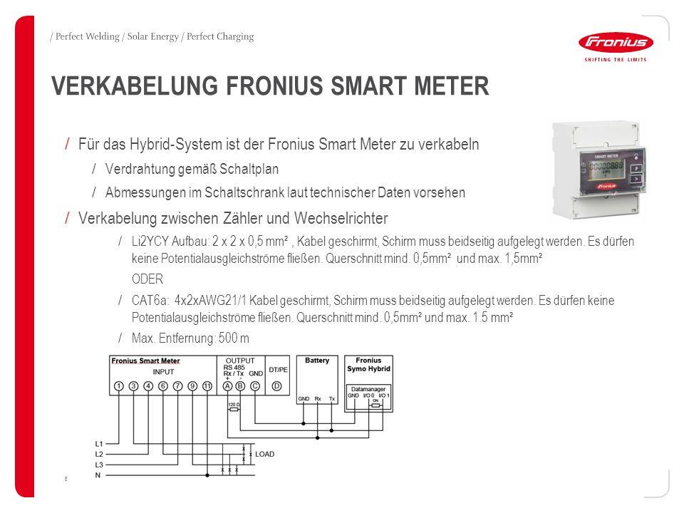 VERKABELUNG FRONIUS SMART METER 6 / Für das Hybrid-System ist der Fronius Smart Meter zu verkabeln / Verdrahtung gemäß Schaltplan / Abmessungen im Schaltschrank laut technischer Daten vorsehen / Verkabelung zwischen Zähler und Wechselrichter / Li2YCY Aufbau: 2 x 2 x 0,5 mm², Kabel geschirmt, Schirm muss beidseitig aufgelegt werden.