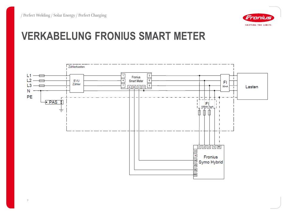 VERKABELUNG FRONIUS SOLAR BATTERY 8 / Zwischen Wechselrichter und Batterie ist folgende Verkabelung notwendig: / Leistungspfad / DC-Leitung mit 25 A abgesichert, Nennstrom 16 A.