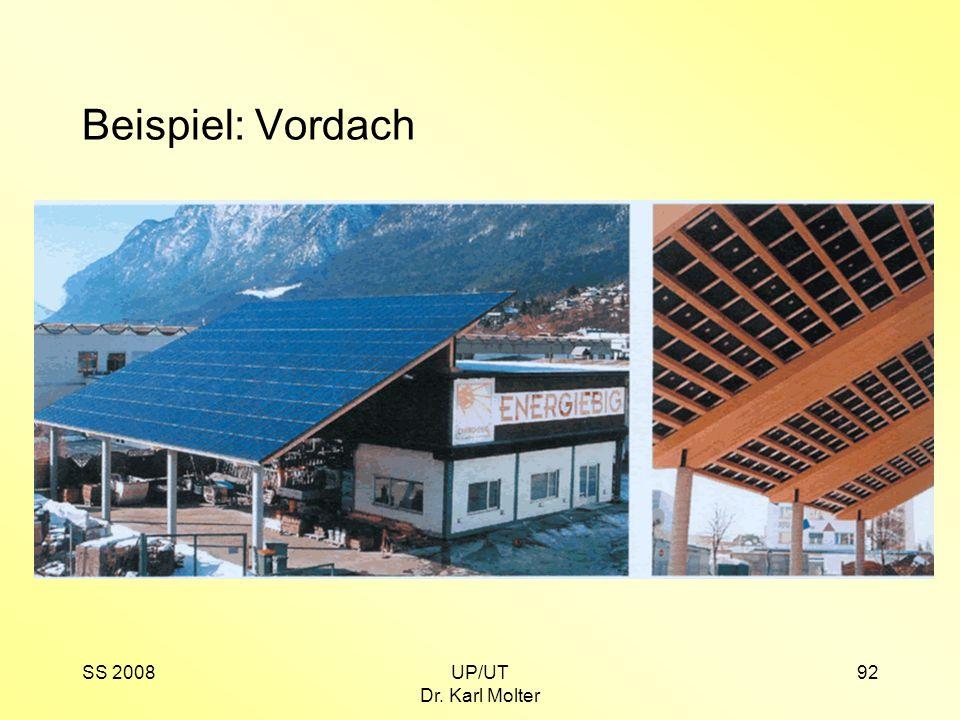 SS 2008UP/UT Dr. Karl Molter 92 Beispiel: Vordach