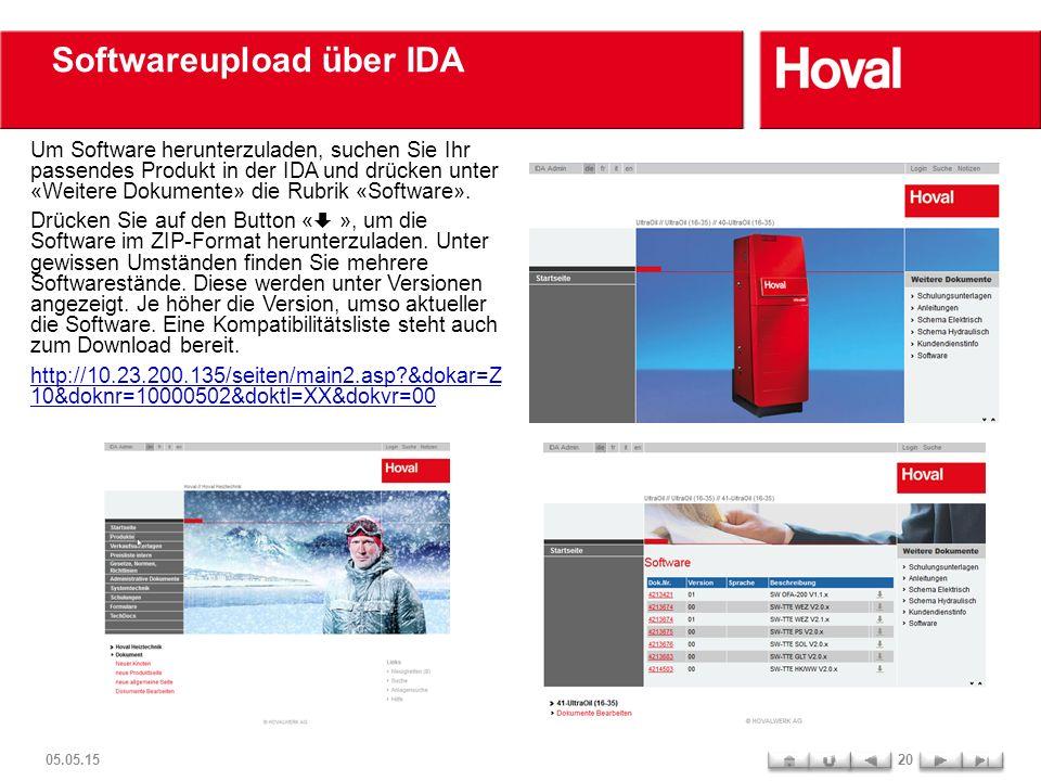 Softwareupload über IDA Um Software herunterzuladen, suchen Sie Ihr passendes Produkt in der IDA und drücken unter «Weitere Dokumente» die Rubrik «Sof