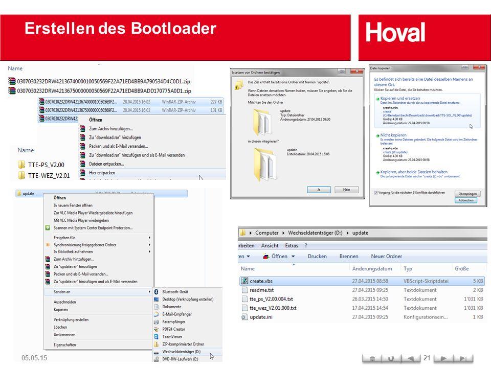 Erstellen des Bootloader 05.05.1521