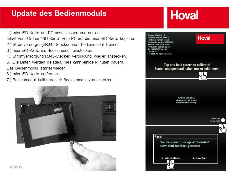 Update des Bedienmoduls 1.) microSD-Karte am PC anschliessen und nur den Inhalt vom Ordner