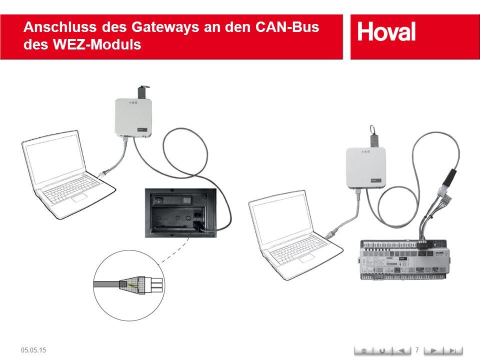 Anschluss des Gateways an den CAN-Bus des WEZ-Moduls 05.05.157