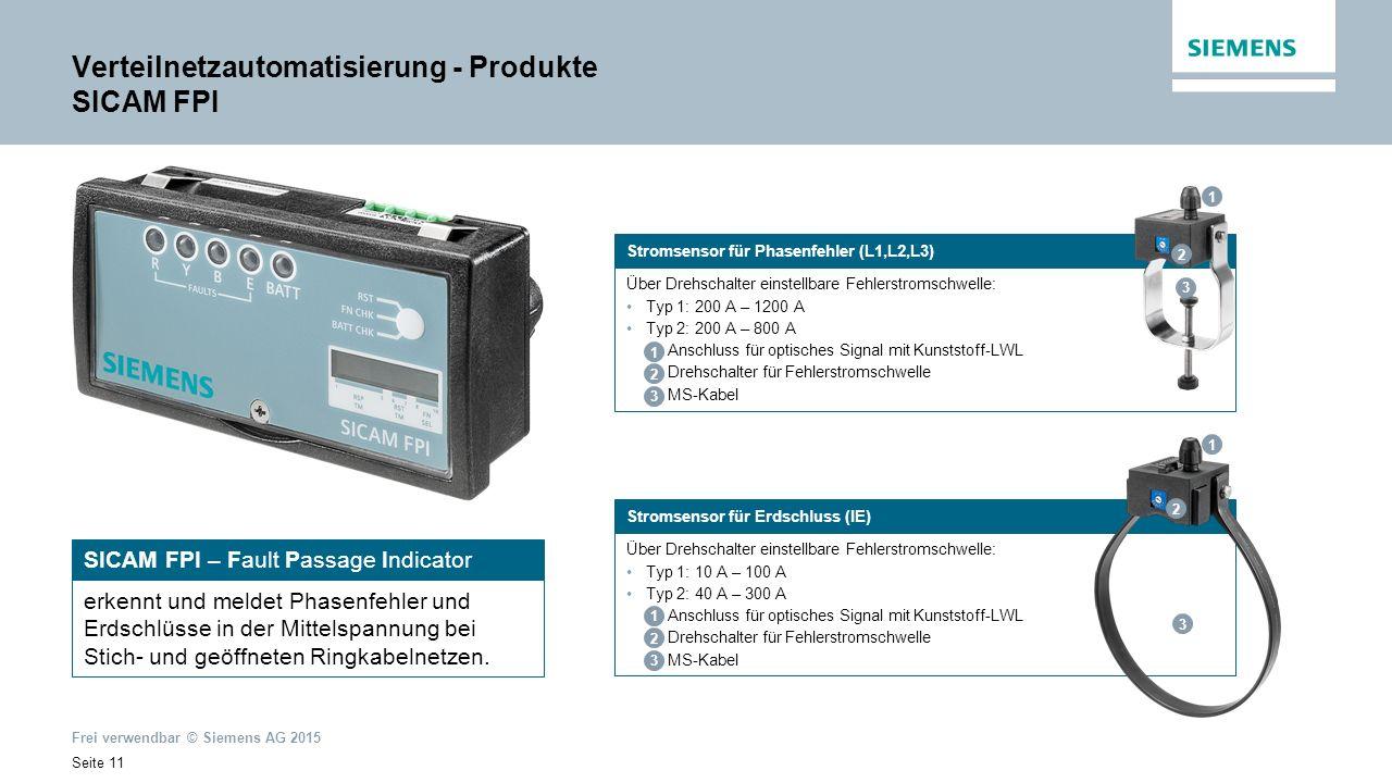 Frei verwendbar © Siemens AG 2015 Seite 11 SICAM FPI – Fault Passage Indicator erkennt und meldet Phasenfehler und Erdschlüsse in der Mittelspannung bei Stich- und geöffneten Ringkabelnetzen.