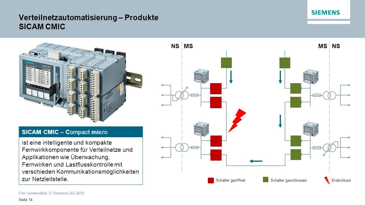 Frei verwendbar © Siemens AG 2015 Seite 14 SICAM CMIC – Compact micro ist eine intelligente und kompakte Fernwirkkomponente für Verteilnetze und Applikationen wie Überwachung, Fernwirken und Lastflusskontrolle mit verschieden Kommunikationsmöglichkeiten zur Netzleitstelle.