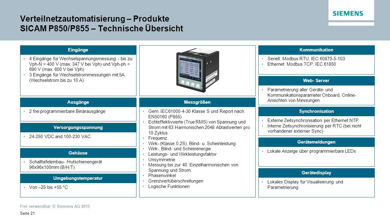Frei verwendbar © Siemens AG 2015 Seite 21 Verteilnetzautomatisierung – Produkte SICAM P850/P855 – Technische Übersicht 4 Eingänge für Wechselspannungsmessung - bis zu Vph-N = 400 V (max.