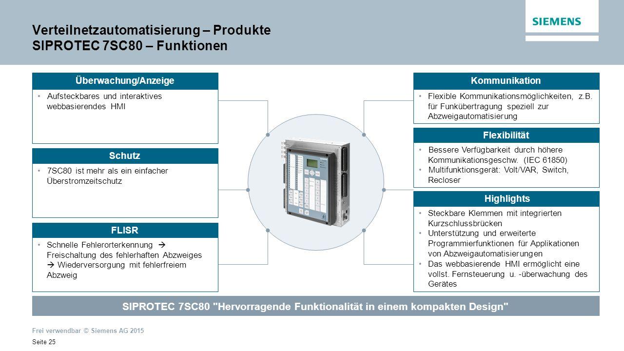 Frei verwendbar © Siemens AG 2015 Seite 25 Verteilnetzautomatisierung – Produkte SIPROTEC 7SC80 – Funktionen Aufsteckbares und interaktives webbasierendes HMI Kommunikation Flexible Kommunikationsmöglichkeiten, z.B.