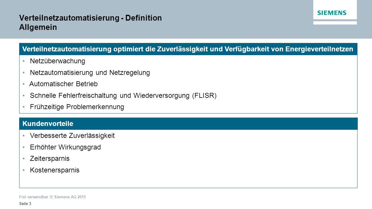 Frei verwendbar © Siemens AG 2015 Seite 4 UHS Übertragung Verteilung Niederspannung Mischverhalten: Erzeugung Verbrauch Verteilung Hoch-/Mittelspannung Umspannstationen Mischverhalten: Erzeugung Verbrauch Erzeugung und Übertragung (Hoch-/Höchstspannung) Verteilung und Abzweigautomatisierung: Trafostationen Mischverhalten: Erzeugung Verbrauch Verteilnetzautomatisierung HS MS Verteilnetzautomatisierung - Definition Netzstruktur MS NS UHS HS