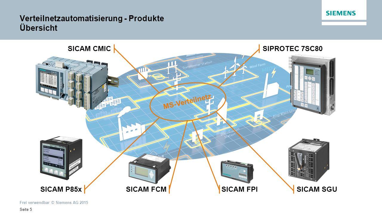 Frei verwendbar © Siemens AG 2015 Seite 5 SICAM P85x SICAM SGU SICAM CMICSIPROTEC 7SC80 MS-Verteilnetz Verteilnetzautomatisierung - Produkte Übersicht SICAM FPI SICAM FCM