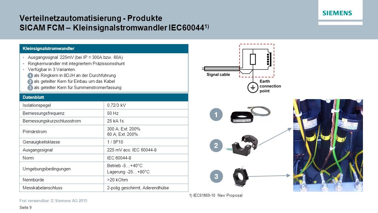 Frei verwendbar © Siemens AG 2015 Seite 20 Verteilnetzautomatisierung – Produkte SICAM P850/P855 SICAM P85x – Multifunktionale Power Meter und Power Quality Recorder sind Multifunktionsgeräte für die Erfassung, Darstellung und Übertragung elektrischer Messwerte wie Spannung, Strom, Leistung, Energie, bis zur 40.