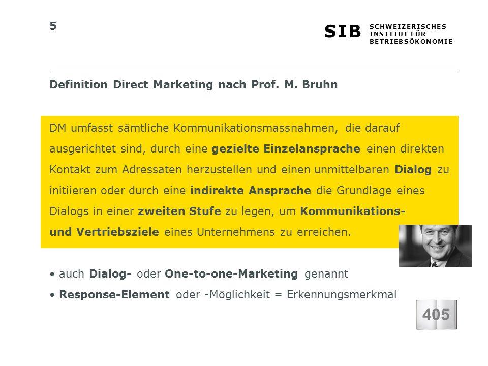 5 S I BS I B S C H W E I Z E R I S C H E S I N S T I T U T F Ü R B E T R I E B S Ö K O N O M I E Definition Direct Marketing nach Prof.
