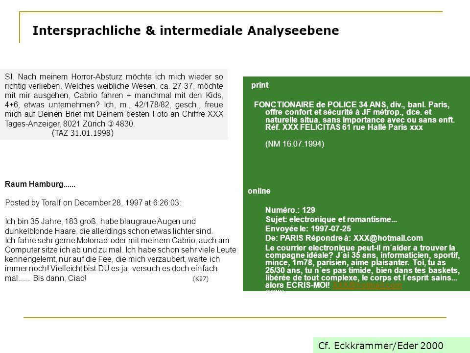Intersprachliche & intermediale Analyseebene print FONCTIONAIRE de POLICE 34 ANS, div., banl.