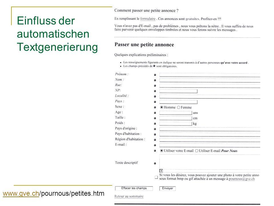 Einfluss der automatischen Textgenerierung www.gve.chwww.gve.ch/pournous/petites.htm