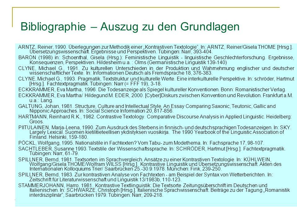Bibliographie – Auszug zu den Grundlagen ARNTZ, Reiner, 1990.