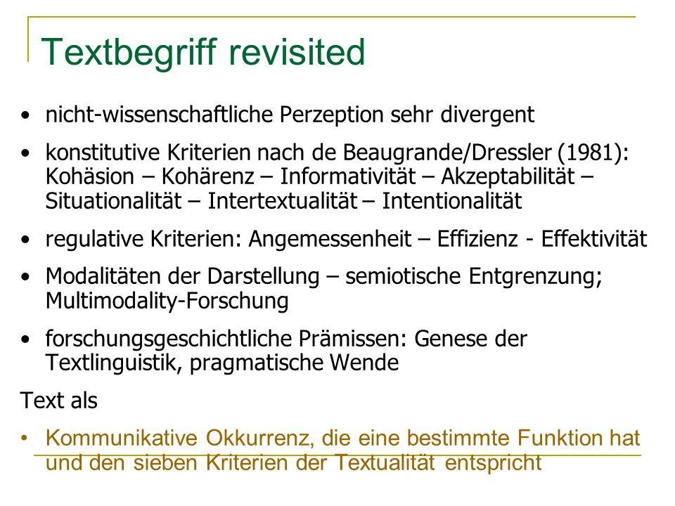 Texttypologie – Textsorten auch Genre, kommunikative Gattung, Diskurstradition, Frz.