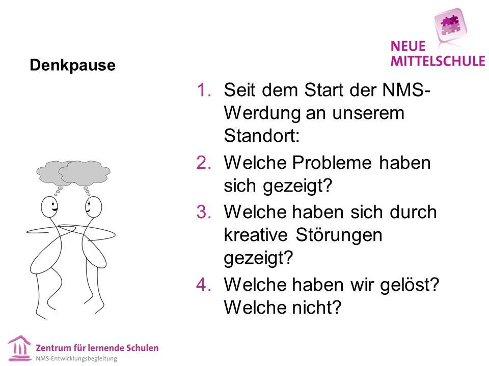 Denkpause 1.Seit dem Start der NMS- Werdung an unserem Standort: 2.Welche Probleme haben sich gezeigt.