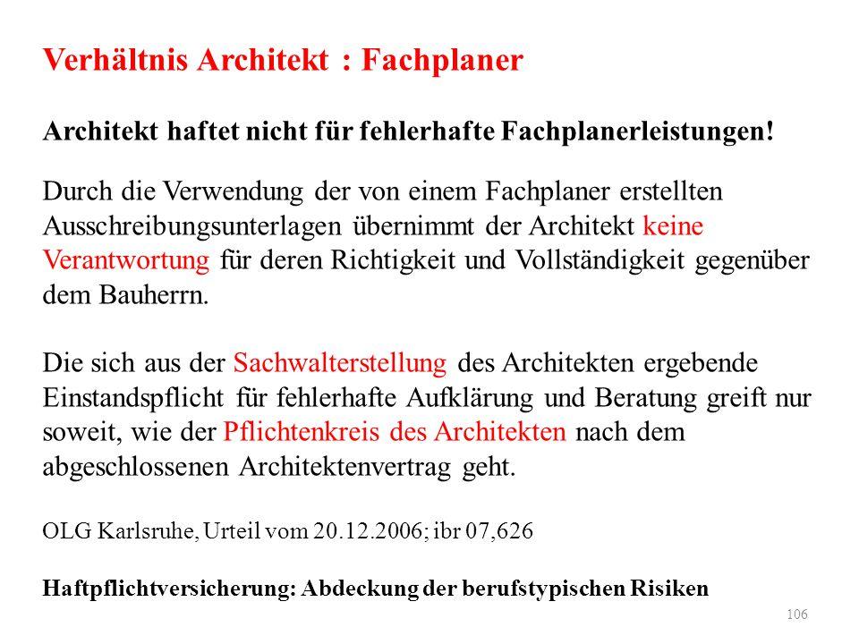 Verhältnis Architekt : Fachplaner Architekt haftet nicht für fehlerhafte Fachplanerleistungen! Durch die Verwendung der von einem Fachplaner erstellte
