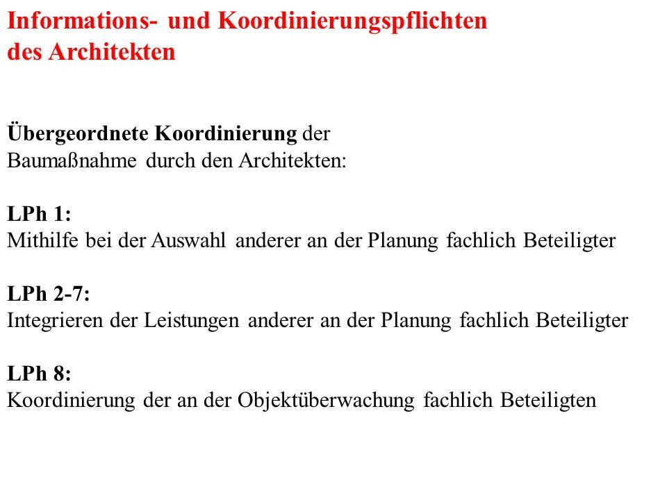 Informations- und Koordinierungspflichten des Architekten Übergeordnete Koordinierung der Baumaßnahme durch den Architekten: LPh 1: Mithilfe bei der A