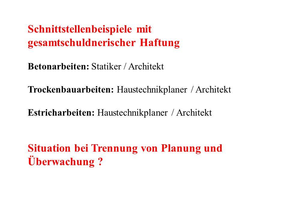 Schnittstellenbeispiele mit gesamtschuldnerischer Haftung Betonarbeiten: Statiker / Architekt Trockenbauarbeiten: Haustechnikplaner / Architekt Estric