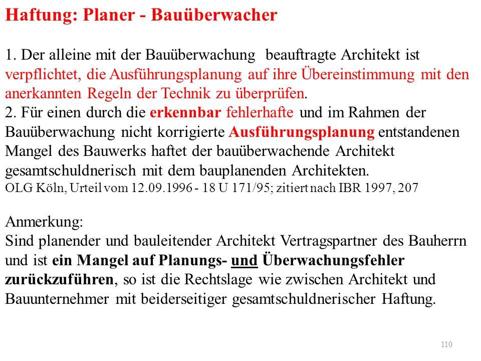 110 Haftung: Planer - Bauüberwacher 1. Der alleine mit der Bauüberwachung beauftragte Architekt ist verpflichtet, die Ausführungsplanung auf ihre Über