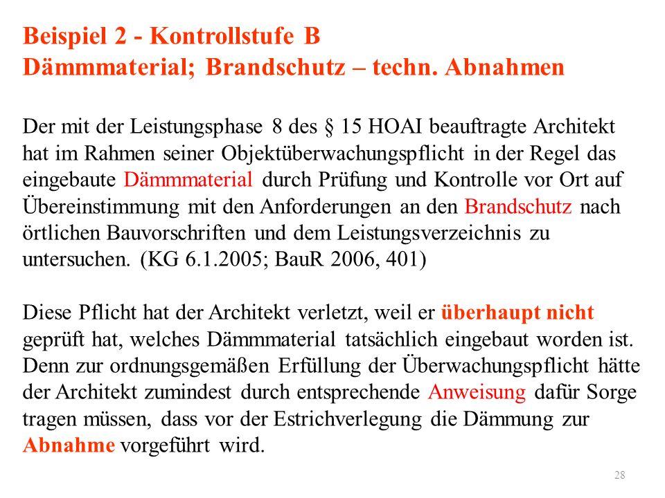 28 Beispiel 2 - Kontrollstufe B Dämmmaterial; Brandschutz – techn. Abnahmen Der mit der Leistungsphase 8 des § 15 HOAI beauftragte Architekt hat im Ra