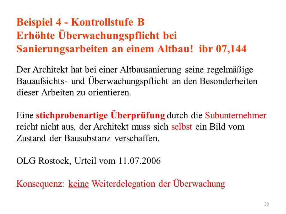 Beispiel 4 - Kontrollstufe B Erhöhte Überwachungspflicht bei Sanierungsarbeiten an einem Altbau! ibr 07,144 Der Architekt hat bei einer Altbausanierun