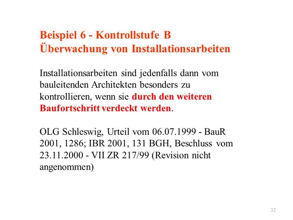 32 Beispiel 6 - Kontrollstufe B Überwachung von Installationsarbeiten Installationsarbeiten sind jedenfalls dann vom bauleitenden Architekten besonders zu kontrollieren, wenn sie durch den weiteren Baufortschritt verdeckt werden.