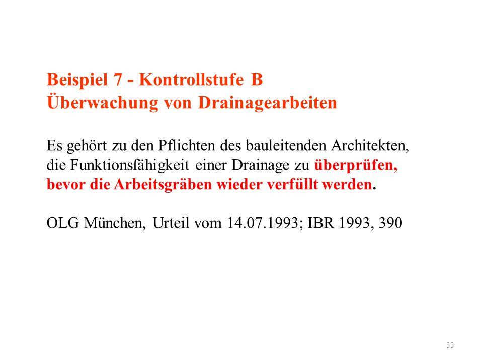 33 Beispiel 7 - Kontrollstufe B Überwachung von Drainagearbeiten Es gehört zu den Pflichten des bauleitenden Architekten, die Funktionsfähigkeit einer Drainage zu überprüfen, bevor die Arbeitsgräben wieder verfüllt werden.