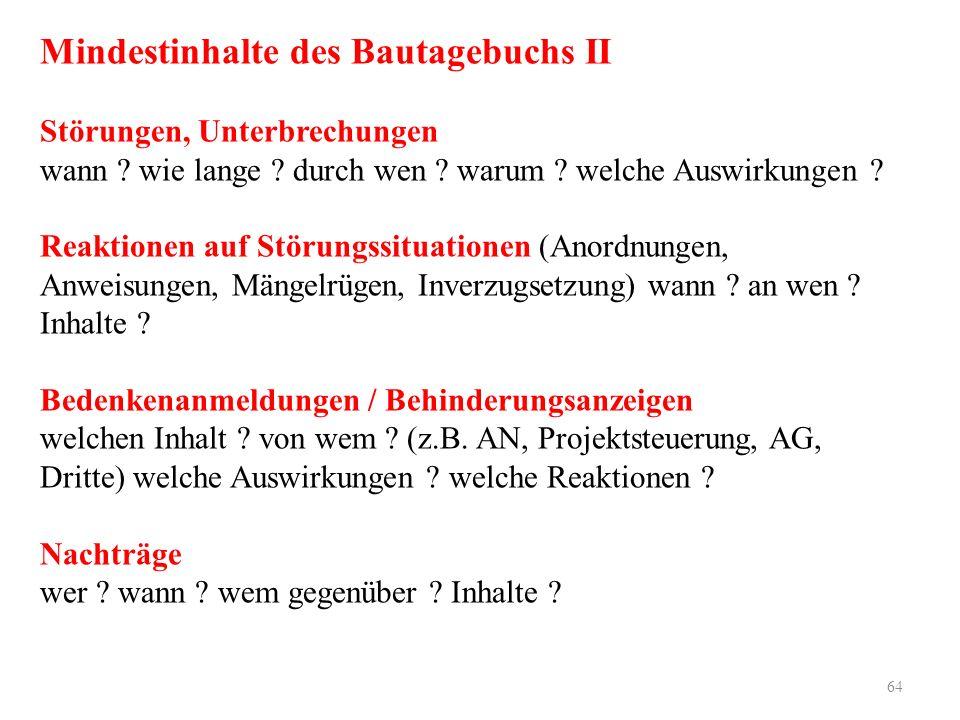 Mindestinhalte des Bautagebuchs II Störungen, Unterbrechungen wann .