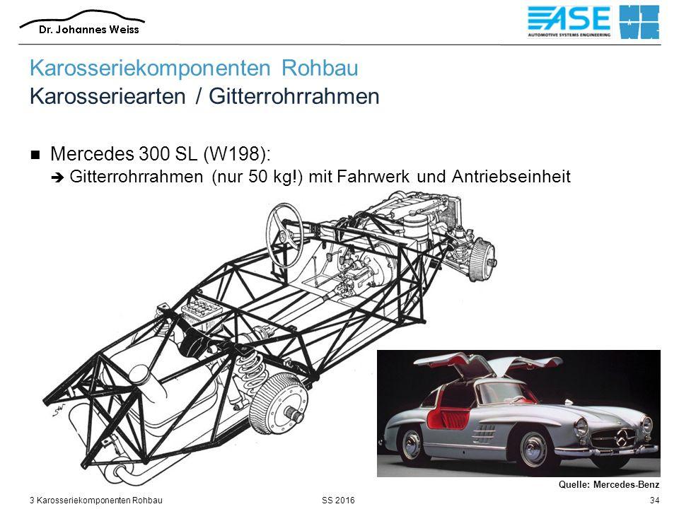 SS 20163 Karosseriekomponenten Rohbau34 Karosseriekomponenten Rohbau Karosseriearten / Gitterrohrrahmen Mercedes 300 SL (W198):  Gitterrohrrahmen (nu