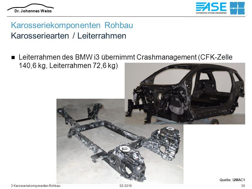 SS 20163 Karosseriekomponenten Rohbau39 Karosseriekomponenten Rohbau Karosseriearten / Leiterrahmen Leiterrahmen des BMW i3 übernimmt Crashmanagement (CFK-Zelle 140,6 kg, Leiterrahmen 72,6 kg) Quelle: I2MAC1