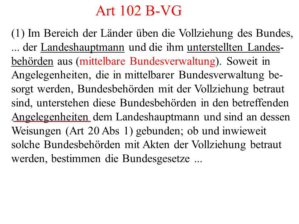 Art 102 B-VG (1) Im Bereich der Länder üben die Vollziehung des Bundes,...