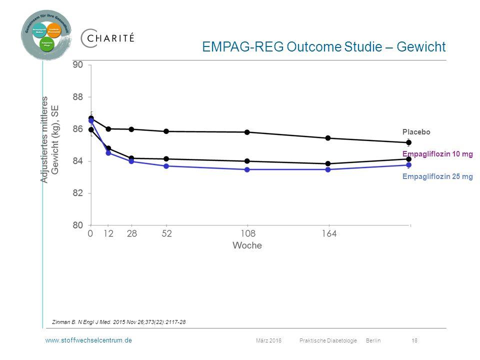 www.stoffwechselcentrum.de März 2016 Praktische Diabetologie Berlin 18 EMPAG-REG Outcome Studie – Gewicht Zinman B.