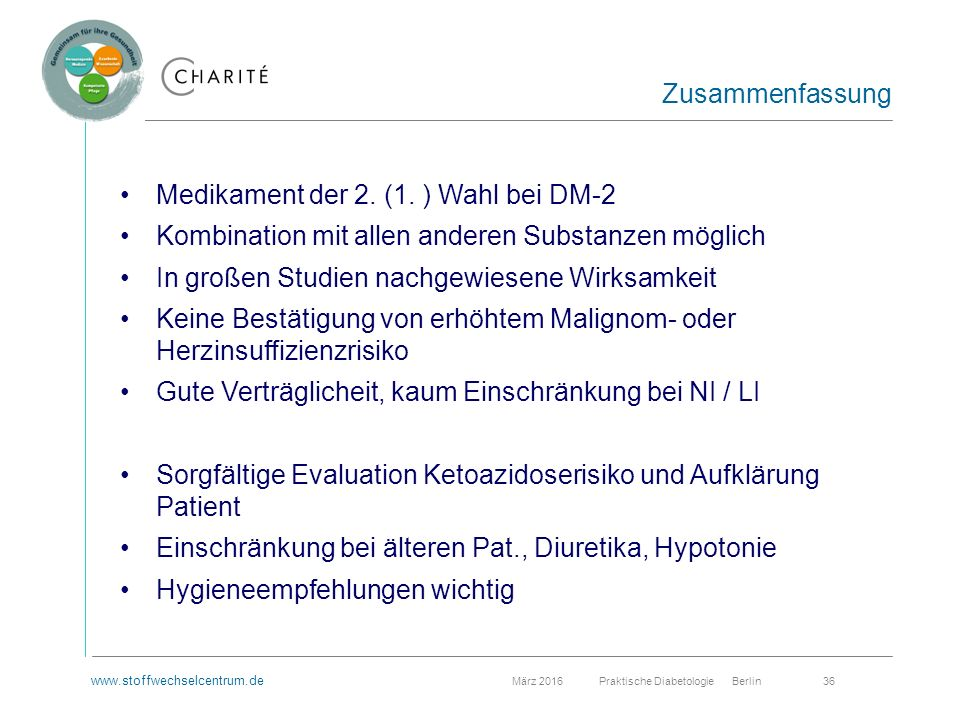www.stoffwechselcentrum.de März 2016 Praktische Diabetologie Berlin 36 Medikament der 2.