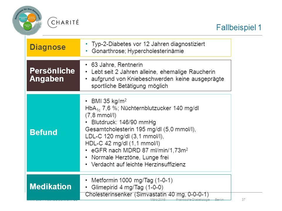 www.stoffwechselcentrum.de März 2016 Praktische Diabetologie Berlin 37 Fallbeispiel 1 Typ-2-Diabetes vor 12 Jahren diagnostiziert Gonarthrose; Hypercholesterinämie 63 Jahre, Rentnerin Lebt seit 2 Jahren alleine, ehemalige Raucherin aufgrund von Kniebeschwerden keine ausgeprägte sportliche Betätigung möglich BMI 35 kg/m 2 HbA 1c 7,6 %; Nüchternblutzucker 140 mg/dl (7,8 mmol/l) Blutdruck: 146/90 mmHg Gesamtcholesterin 195 mg/dl (5,0 mmol/l), LDL-C 120 mg/dl (3,1 mmol/l), HDL-C 42 mg/dl (1,1 mmol/l) eGFR nach MDRD 87 ml/min/1,73m 2 Normale Herztöne, Lunge frei Verdacht auf leichte Herzinsuffizienz Metformin 1000 mg/Tag (1-0-1) Glimepirid 4 mg/Tag (1-0-0) Cholesterinsenker (Simvastatin 40 mg, 0-0-0-1) Diagnose Persönliche Angaben Medikation Diagnose Persönliche Angaben Befund