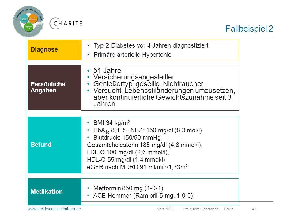 www.stoffwechselcentrum.de März 2016 Praktische Diabetologie Berlin 40 Fallbeispiel 2 Typ-2-Diabetes vor 4 Jahren diagnostiziert Primäre arterielle Hypertonie 51 Jahre Versicherungsangestellter Genießertyp, gesellig, Nichtraucher Versucht, Lebensstiländerungen umzusetzen, aber kontinuierliche Gewichtszunahme seit 3 Jahren Metformin 850 mg (1-0-1) ACE-Hemmer (Ramipril 5 mg, 1-0-0) BMI 34 kg/m 2 HbA 1c 8,1 %, NBZ: 150 mg/dl (8,3 mol/l) Blutdruck: 150/90 mmHg Gesamtcholesterin 185 mg/dl (4,8 mmol/l), LDL-C 100 mg/dl (2,6 mmol/l), HDL-C 55 mg/dl (1,4 mmol/l) eGFR nach MDRD 91 ml/min/1,73m 2 Diagnose Persönliche Angaben Befund Medikation
