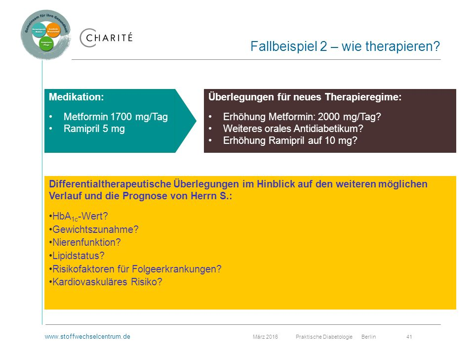 www.stoffwechselcentrum.de März 2016 Praktische Diabetologie Berlin 41 Fallbeispiel 2 – wie therapieren.