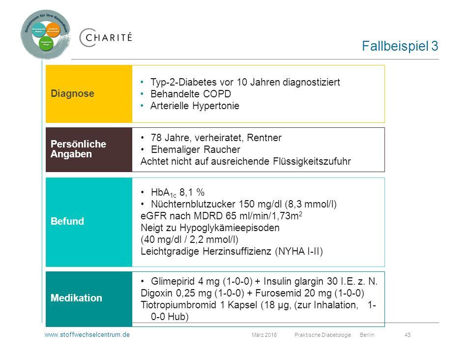www.stoffwechselcentrum.de März 2016 Praktische Diabetologie Berlin 43 Fallbeispiel 3 Typ-2-Diabetes vor 10 Jahren diagnostiziert Behandelte COPD Arterielle Hypertonie 78 Jahre, verheiratet, Rentner Ehemaliger Raucher Achtet nicht auf ausreichende Flüssigkeitszufuhr HbA 1c 8,1 % Nüchternblutzucker 150 mg/dl (8,3 mmol/l) eGFR nach MDRD 65 ml/min/1,73m 2 Neigt zu Hypoglykämieepisoden (40 mg/dl / 2,2 mmol/l) Leichtgradige Herzinsuffizienz (NYHA I-II) Glimepirid 4 mg (1-0-0) + Insulin glargin 30 I.E.