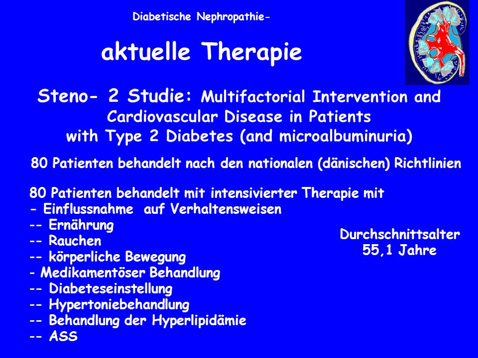 Diabetische Nephropathie- aktuelle Therapie Steno- 2 Studie: Multifactorial Intervention and Cardiovascular Disease in Patients with Type 2 Diabetes (