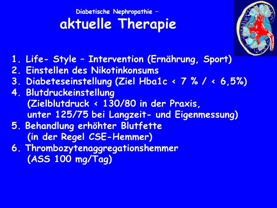Diabetische Nephropathie – aktuelle Therapie 1. Life- Style – Intervention (Ernährung, Sport) 2.