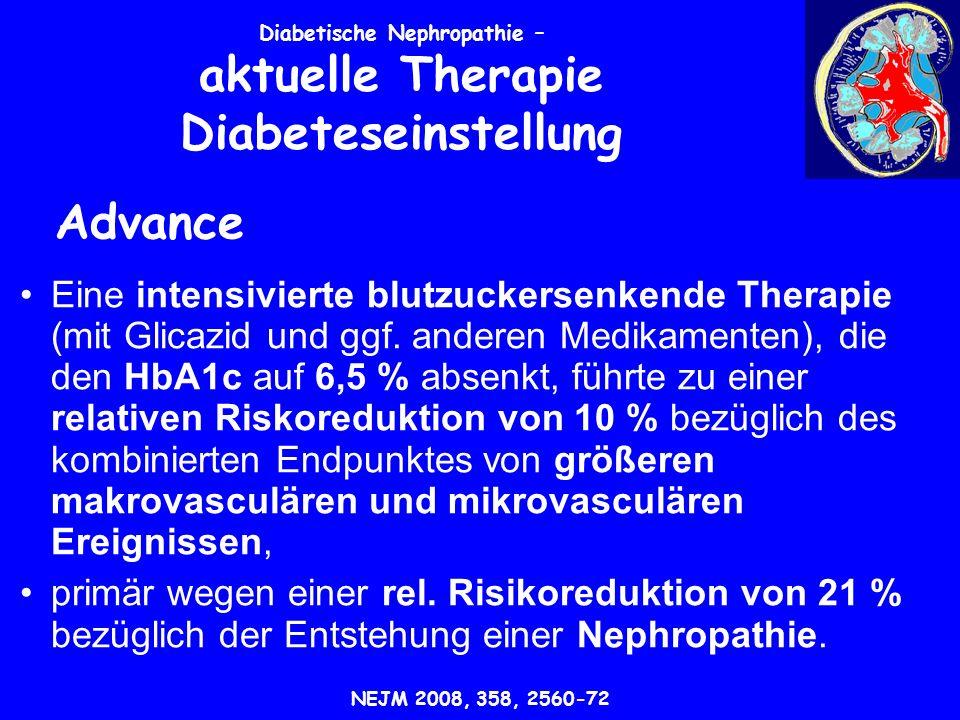 Eine intensivierte blutzuckersenkende Therapie (mit Glicazid und ggf.