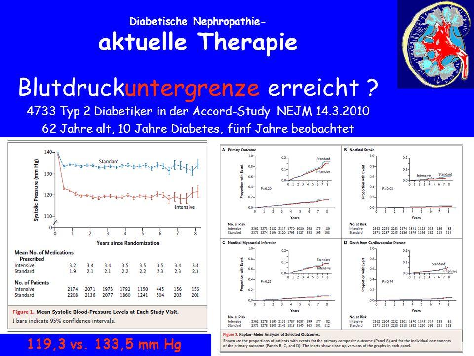 Diabetische Nephropathie- aktuelle Therapie Blutdruckuntergrenze erreicht .