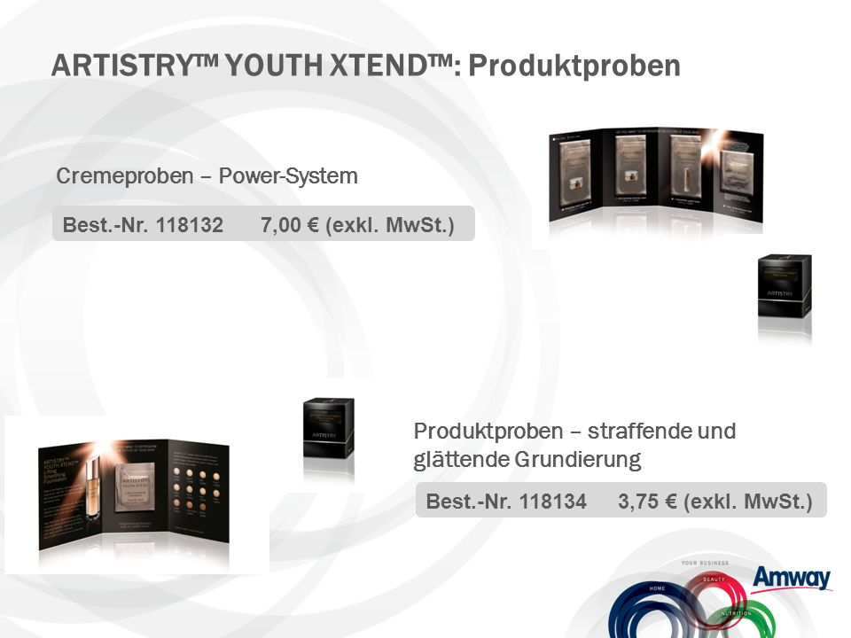 ARTISTRY™ YOUTH XTEND™: Produktproben Cremeproben – Power-System Best.-Nr.